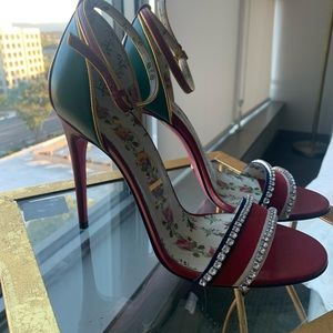 Gucci Ilse Crystal-Embellished Leather Heels